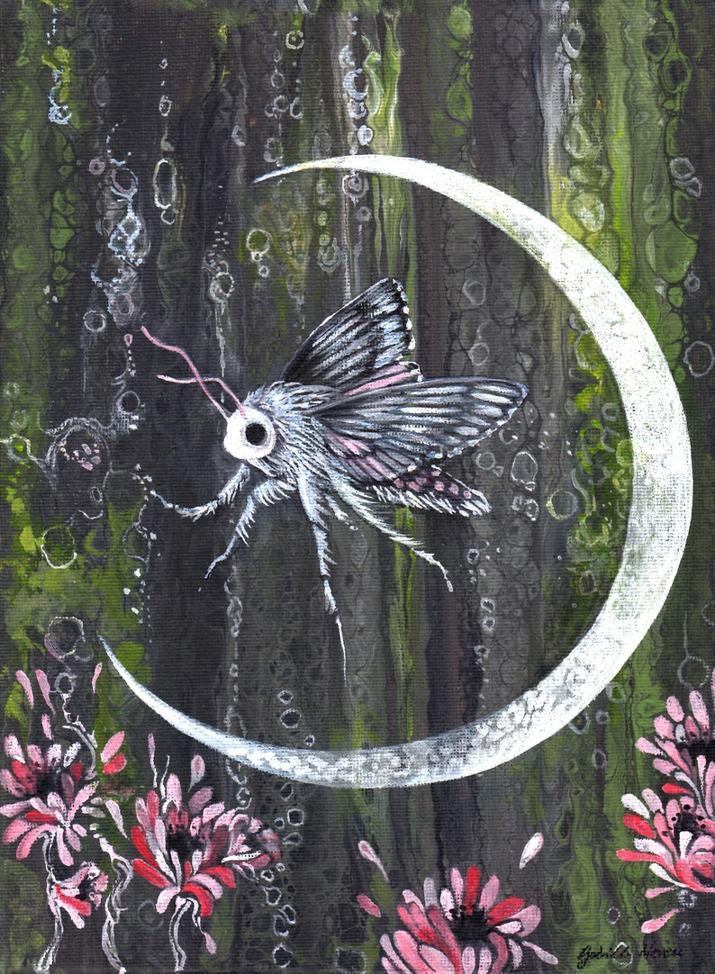 Crescent Moon Moth 11 x 14 Print on Wood Panel Spring Green Bubbles Flowers Forest Abstract Painting