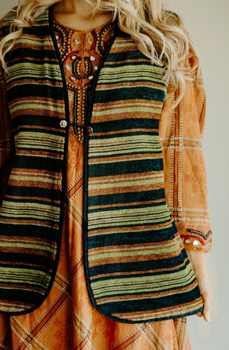 Handmade Vintage Vest S M L Boho Woven Green Navy Rust Bohemian Hippie Gypsy Hipster Mod Psychedelic 60s 70s Mod Art Earthy Folk Festival