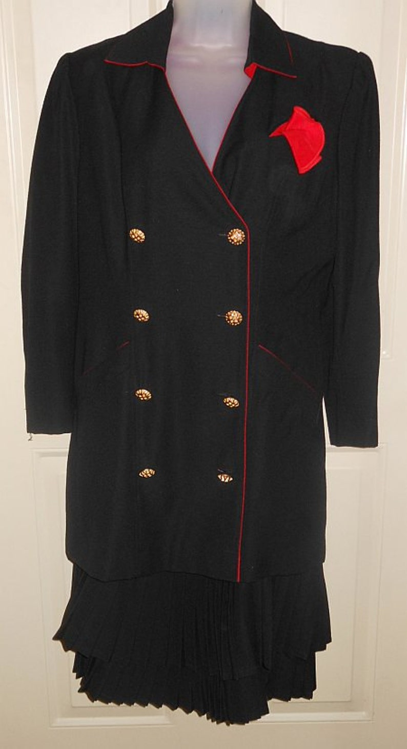 b9be6fefd5f00 Vintage 1980's Adolfo Saks Fifth Avenue Coat Dress