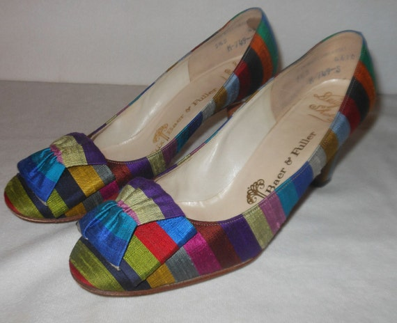 Gorgeous Rainbow Fabric Covered 1960's Heels Shoes