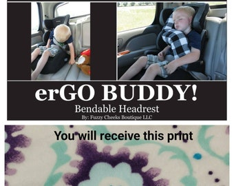 ErGO BUDDY Bendable Baby Toddler Headrest Carseat Pillow And Cover In Aqua White Purple Floral