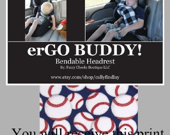 Travel Support Neck Pillow ErGO BUDDY Bendable Baby Toddler Headrest Carseat And Cover In Baseball