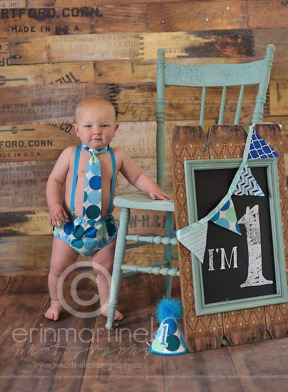 Baby Boys First Birthday Cake Smash Diaper Cover Tie And Party