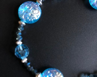 Aqua Coin Bracelet with Swarovski Crystals