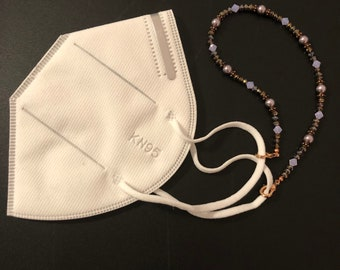 Face Mask Holder with Beaded Crystal