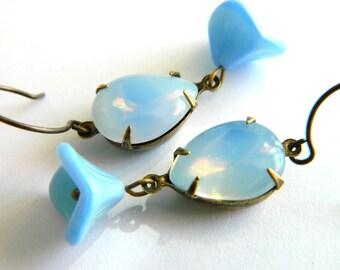 Blue Rhinestone Earrings Blue Green Earrings Vintage Jewel Bridesmaid Earrings Art Deco Earrings Shabby Chic Jewelry Jadeite Green