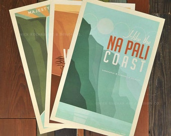 Explore Kauai - Series - 12 x 18 Retro Hawaii Prints
