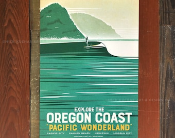 Explore The Oregon Coast - 12x18 Retro Travel Print