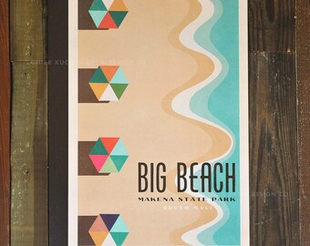 Big Beach, Makena Maui - 12x18 Retro Hawaii Travel Print