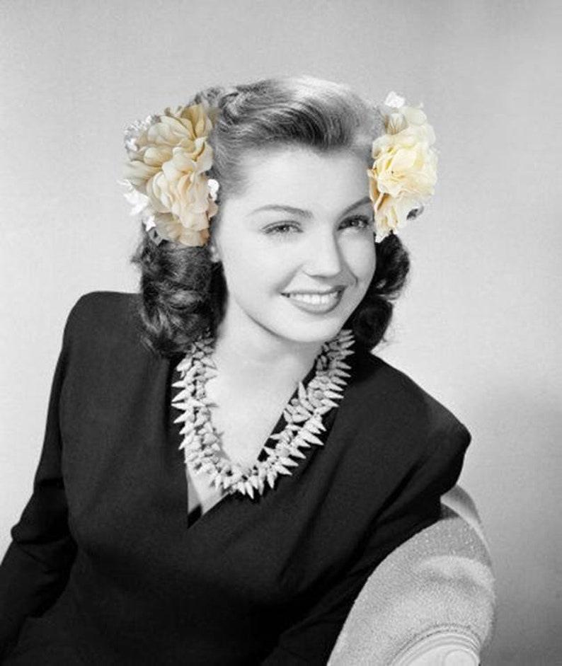 1940s Hair Snoods- Buy, Knit, Crochet or Sew a Snood     Black Dahlia Hydrangea Hair Clips: 2pc Hydrangea Clusters $14.50 AT vintagedancer.com