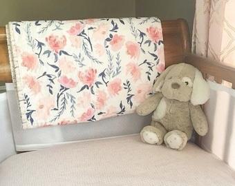 Watercolor Floral Baby Blanket, modern baby quilt, mini crib blanket, baby blanket, baby girl quilt, crib blanket, crib bedding, girl quilt