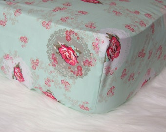 Shabby Chic Nursery - Changing Pad Cover - Floral Changing Pad, Roses Crib Sheet, Crib Sheet Set, Baby Girl Bedding