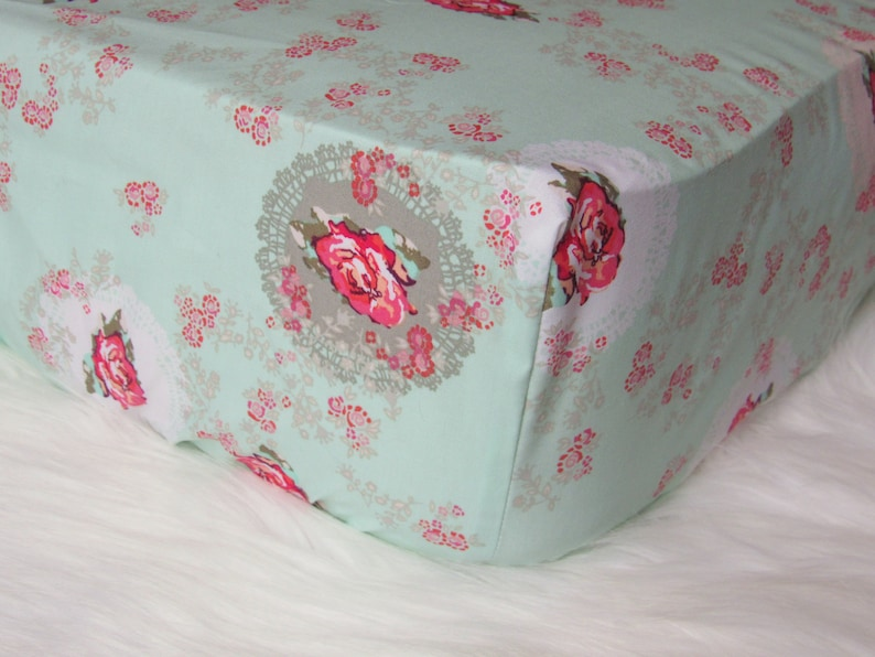 Shabby Chic Nursery  Changing Pad Cover  Floral Changing image 0