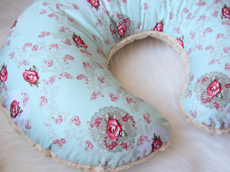 Floral nursing pillow cover for new baby girl gift / Minky and image 0