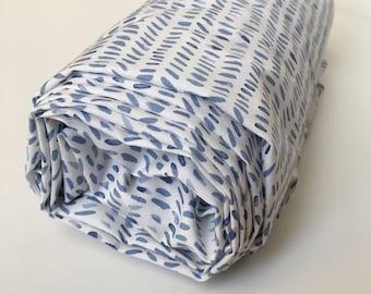 Changing Pad Cover or Crib Sheet in Splendid Rain / Blue Crib Bedding, Baby Crib Sheet, Neutral Baby Bedding, Baby Bedding, Baby Boy Bedding