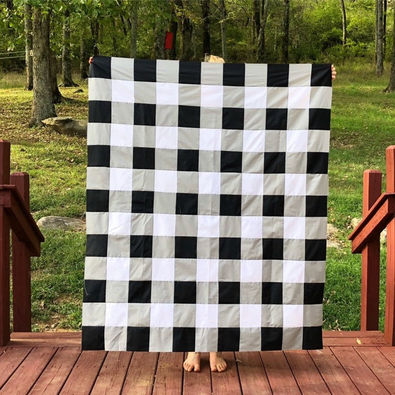 Black and White Bedding / Plaid Baby Quilt / crib bedding boy image 0