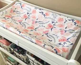 Watercolor Floral Changing Pad Cover / Floral Nursery, Baby Girl Bedding, Floral Baby Bedding, Baby Bedding, Floral Crib Bedding, Watercolor