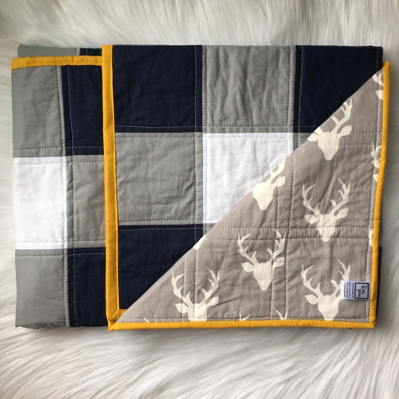 Plaid Baby Quilt / Navy White and Gray / modern baby blanket image 0