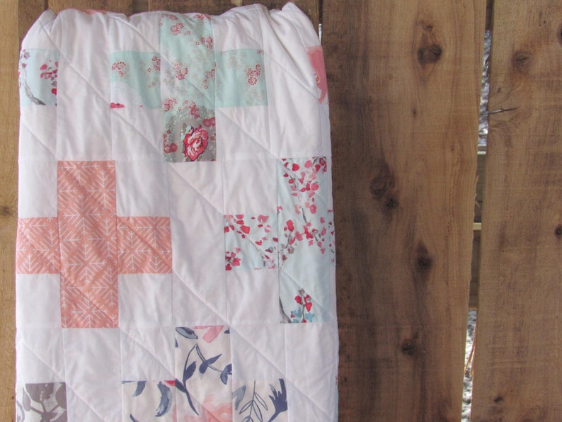 Plus Quilt / Pink and Teal Nursery / Baby Quilt Crib Quilt image 0