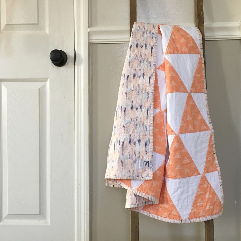 Baby Girl Quilt / Coral Triangles Quilt / Prism Nursery image 0