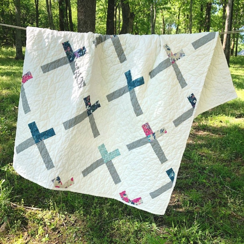 Modern Throw Quilt  BASKETCASE  Lap Quilts for Sale image 0