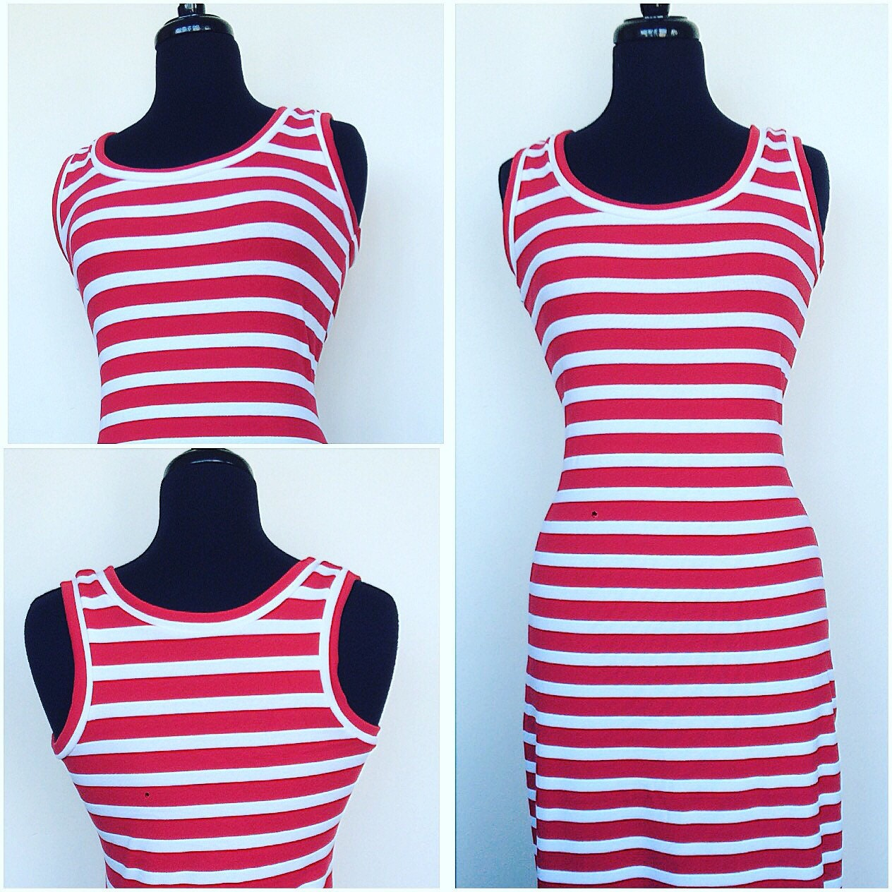 Maxi Dress With Red And White Stripes Plus Size