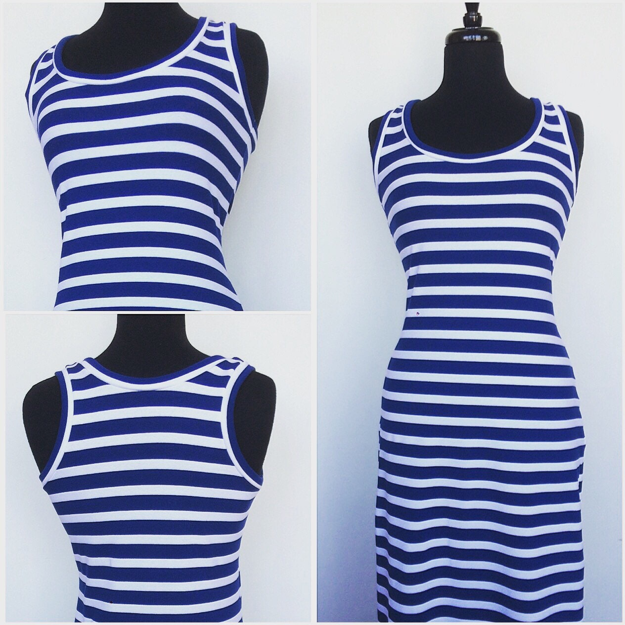 04f95591092 Maxi Dress In Blue And White Nautical Stripes. gallery photo ...