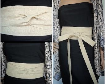 High End Organic Linen Wrap Belt  In Neutral