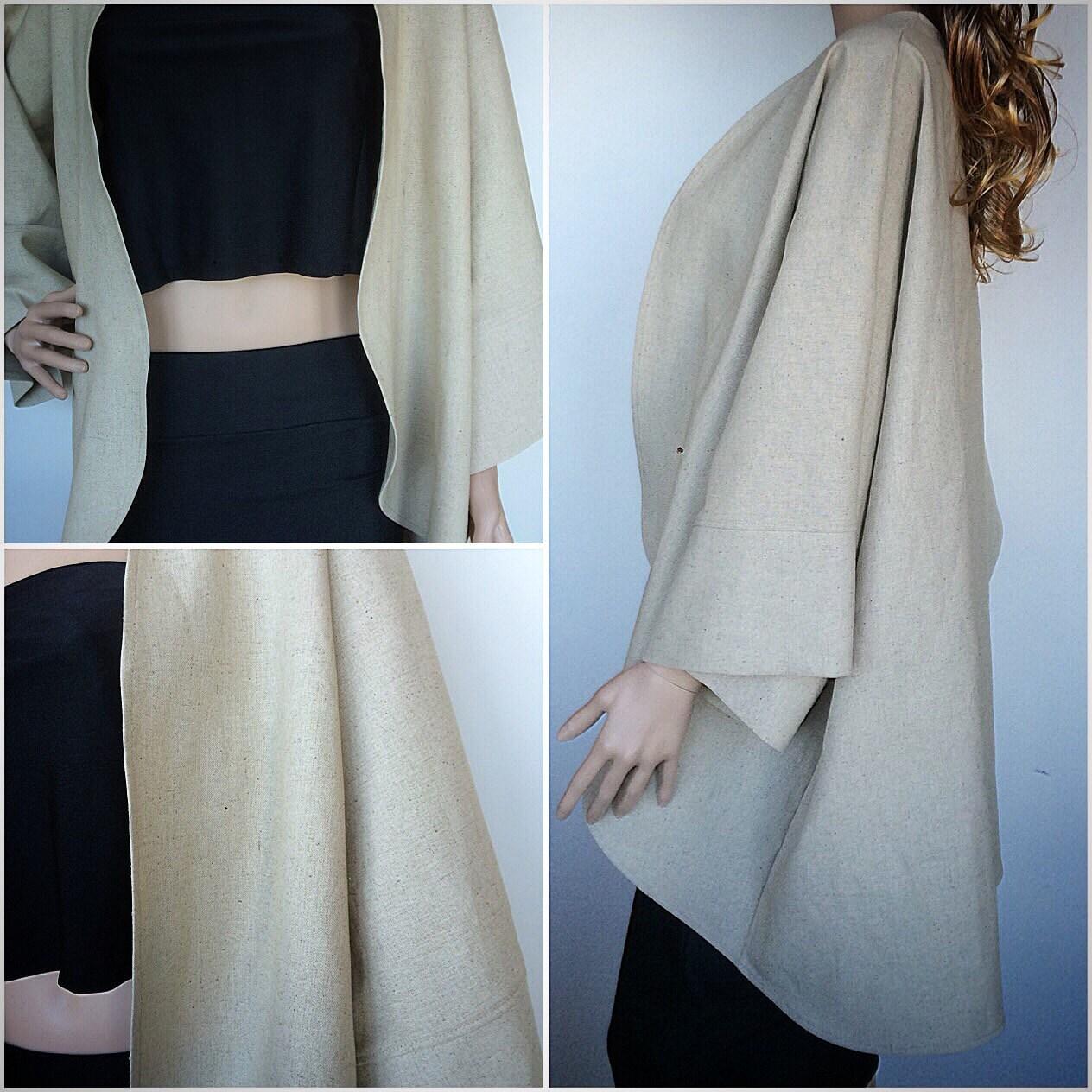 Organic Linen Beltless Kimono In Neutral