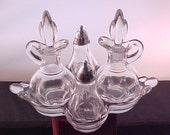 1940s Duncan Canterbury 7 Piece Condiment Set, Mid Century Crystal Oil Vinegar Cruets w Shakers and Serving Tray, Elegant Depression Glass