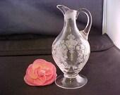 Vintage Cambridge Rose Point Oil Cruet Missing Stopper, 3400 161 6 Ounce Elegant Etched Crystal Depression Serving Glassware