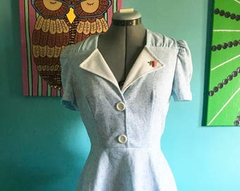 Vintage Light Blue Polyester Dress Size Small/Medium