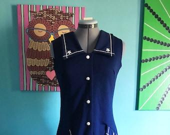 Vintage Navy Blue Dress Size Medium