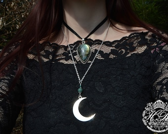 Crescent moon pendant, silver moon necklace, semi precious witch jewelry, lunar amulet, strega, witchy moon phase jewelry, wicca necklace