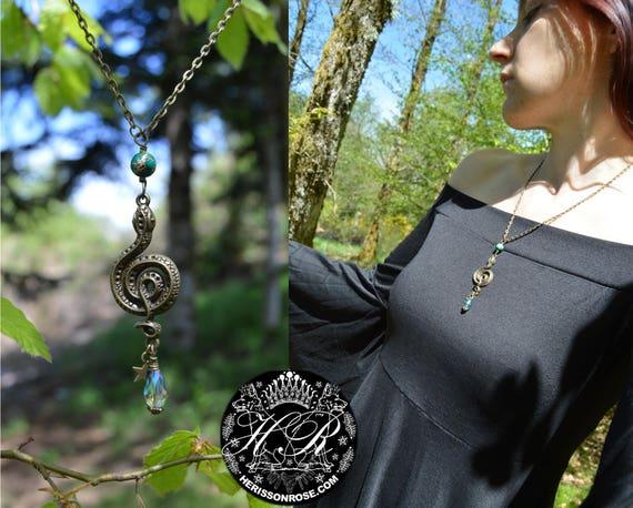 Snake Necklace Medusa Necklace Bronze Double Snake Necklace