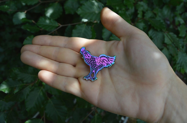 vaporwave cybergoth rainbow metallic pin SECONDS black chicken enamel pin pastel goth glitter witchy jewelry Ayam Cemani rooster brooch