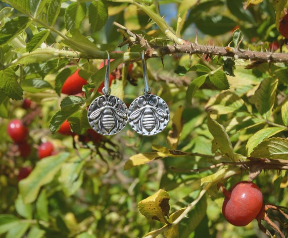 3fc7f0a20 Dainty bee charm earrings cute rustic forest jewelry folksy | Etsy