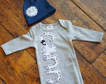 Elephant name gown, newborn boy gown, matching hat, grey elephant hand stitched