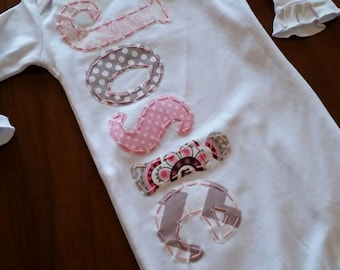 Baby girl personalized name gown, grey and pick coming home outfit, layette girl, newborn baby gown