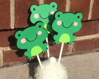 Frog Party, Frog Baby Shower, Frog Cupcake Toppers