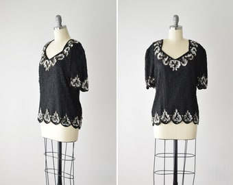 Black Beaded Blouse Sm  Silk Beaded Blouse  Bead Sequin Top  Statement Top  Puff Sleeve Shirt  Size Small
