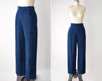 b259d7ccd47 YSL Wide Leg Navy Trousers / High Waist / Blue / Slacks / Yves Saint Laurent  Rive Gauche / High Waist Wide Leg / Small / 27 Inch Waist
