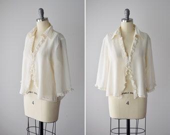 64953d94 Vintage Silk Blouse White / 90s Silk Shirt / Off White Creme / White Silk  Top / Zipper Blouse / Ivory Silk / White Sheer Top / Size Medium