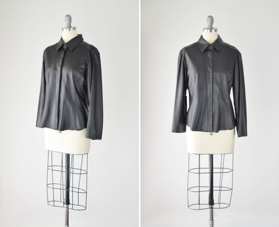 Leather Shirt Med / Relaxed Leather Shirt / Leath… - image 1