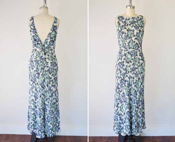 Floral Bias Cut Dress S / Low Back Dress / Blue Fl
