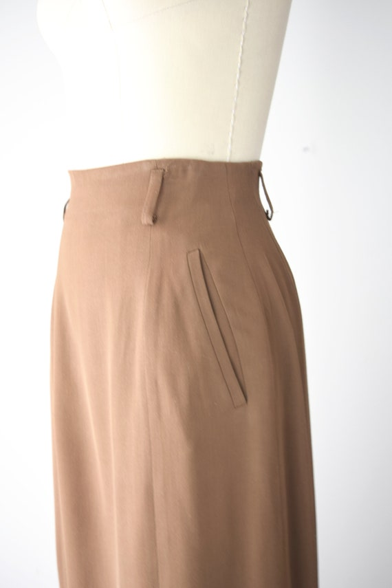 Camel Wool Blend Maxi Skirt Sm / Worsted Wool Max… - image 7