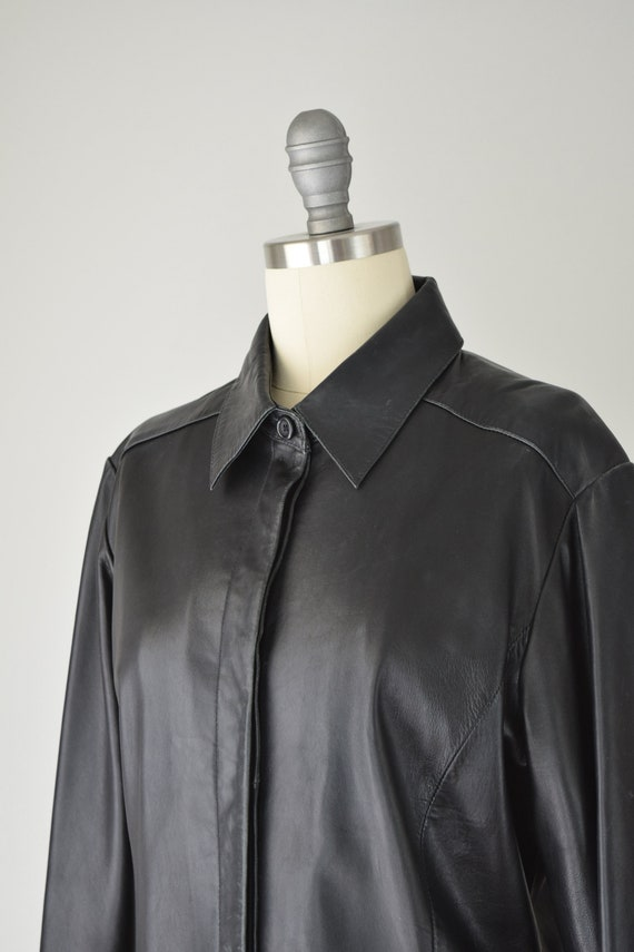 Leather Shirt Med / Relaxed Leather Shirt / Leath… - image 6