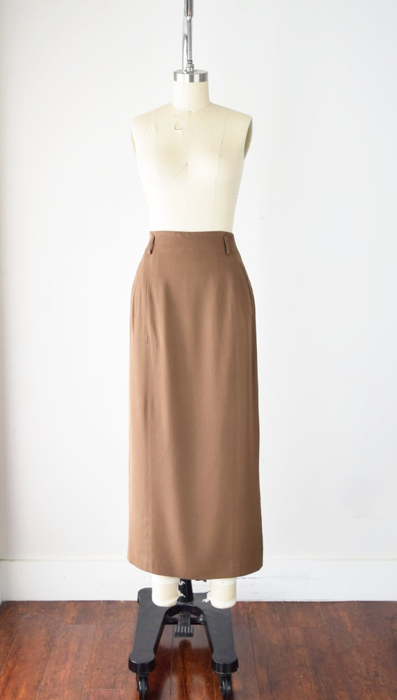 Camel Wool Blend Maxi Skirt Sm / Worsted Wool Max… - image 2