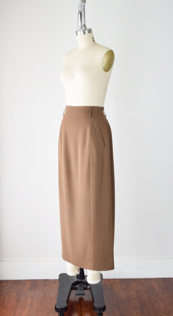 Camel Wool Blend Maxi Skirt Sm / Worsted Wool Max… - image 3