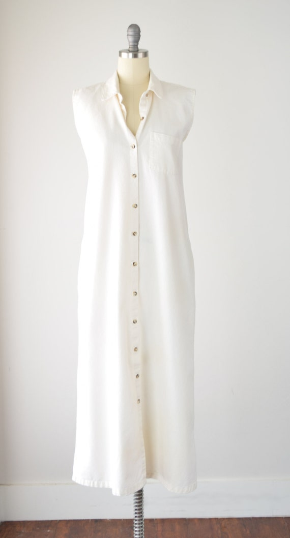 80s Cream Maxi Shirt Dress Lg / Cotton Shirt Dres… - image 2